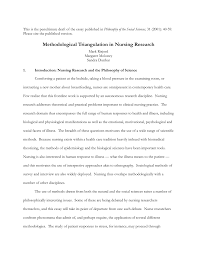 methodological triangulation in nursing research pdf  methodological triangulation in nursing research pdf available
