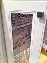 perforated metal panel glass cabinet doors