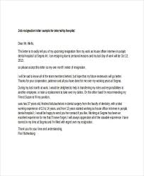 6 Sample Internship Resignation Letters Free Sample Example Awesome