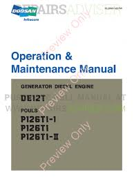 daewoo doosan de12t generator diesel engine operation and maintenance manual pdf
