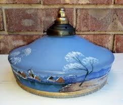 art deco blue frosted hand painted glass pendant light
