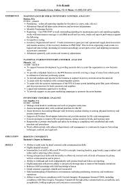 Inventory Controller Resumes Inventory Control Analyst Resume Samples Velvet Jobs S