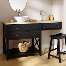 bathroom black wooden bathroom vanity bench dark timber vanity cabinet white ceramics sink brown wooden