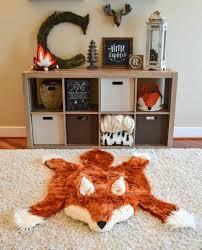 nursery bear rug fox rug faux fox rug woodland nursery fox baby room decor animal nursery