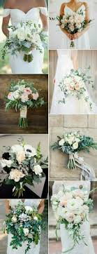 I like the first, top left bouquet. No blue toned greenery - would like to  use