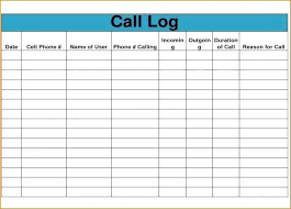 Phone Call Tracker Template Log Tracking Excel