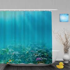Coral Design Shower Curtain Us 15 17 Underwater Coral Reef Bathroom Shower Curtain Marine Life Designs Shower Curtains Waterproof Mildew Polyester Fabric With Hooks In Shower