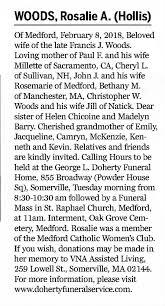 Rosalie Hollis Woods Death Notice - 11 February 2018 - Boston ...