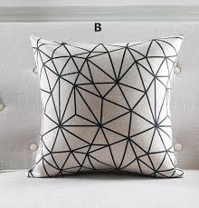 18 inch black and white geometric throw pillows for home decor