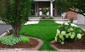 interior, White Chair Front Brick Wall For Small Front Yard Landscaping  With Fress Grass Closed