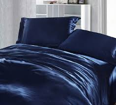 dark blue bedding set silk satin super king size queen double fitted bed sheets duvet cover