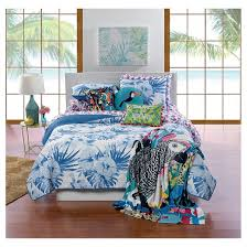White & Blue Palm Flower Quilt Set (Full/Queen) 3-pc - Hot Now ... & White & Blue Palm Flower Quilt Set (Full/Queen) 3-pc - Hot Now™ Adamdwight.com