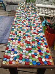 the table covered in marbles