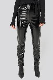 Kd Designs Ri Fold Hem Pu Pants Black