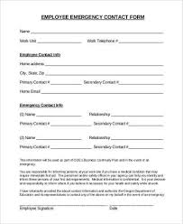 Employee Emergency Contact Information Template Employee Emergency Contact Form Pdf Magdalene Project Org