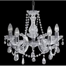 marie therese acrylic 5 light crystal glass chandelier with polished chrome finish