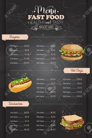 Menu Drawing Design Drawing Vertical Color Fast Food Menu Design On Blackboard