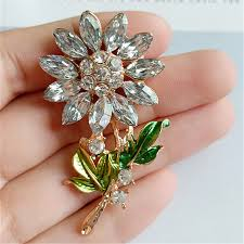 20pc 30 52mm gold color big crystal flower charm flower pendant diy for head jewelry