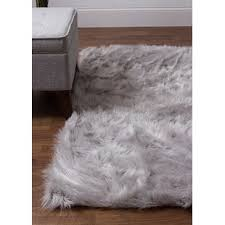 A Charlotte HandWoven Faux Sheepskin Gray Area Rug