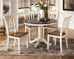 Pedestal Dining Table Set Signature Design By Ashley Whitesburg 5 Piece Two Tone Cottage