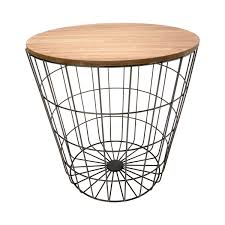 storage wire basket table natural look black hover over image to zoom