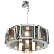 frederick ramond octagonal chandelier in chrome and glass for