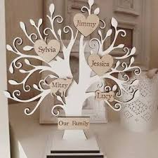 Family Tree Ornament Display Stand Personalised wooden family tree on stand white shabby chic 100 2