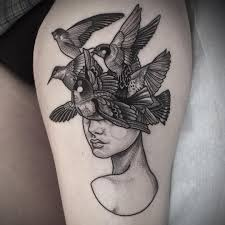Blackwork Tattoo With Girl And Bird