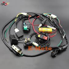 popular pit bike wiring harness buy cheap pit bike wiring harness full wiring harness loom solenoid coil regulator cdi ngk spark plug 50 70cc 90cc 110cc 125cc
