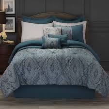 hotel style 11 piece bedding comforter set collection in teal