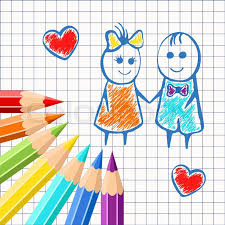 frame of colored pencils on the background exercise book in a cage with painted cartoon and boy for design postcards banners covers