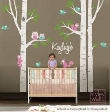 wall decal kids birch trees nursery