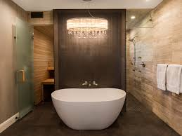 Open Shower Bathroom Bathroom Brown Floor Tile Crystal Ceiling Light Elegant Master