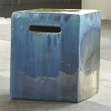 blue garden stool. Garden Stools Carilo Blue Stool Crate And Barrel