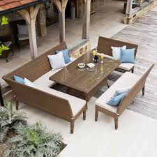 bright inspiration san marino patio furniture rattan garden bench dining set in weatherproof wicker 160cm table with glass top corner and 2 outdoor benches