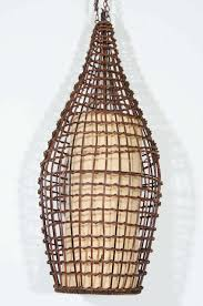 midcentury basket style wicker pendant or lantern 2