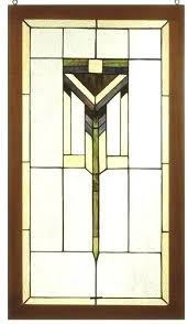 antique framed stained glass window panels style x prairie wood frame