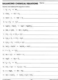 word equations chemistry worksheet 2 pages balancing