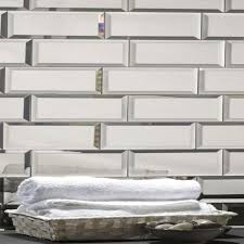 abolos reflections beveled rectangle 3 in x 12 in mirror glass handmade backsplash bathroom subway wall tile reviews wayfair