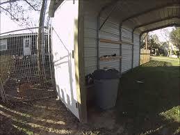 part 2 how to enclose a metal carport back door and setting posts you