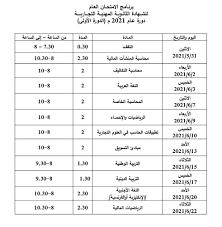 برنامج فحص بكالوريا تجاري سوريا 2021 ، برنامج امتحان شهادة الثانوية الفرع  التجاري 2021