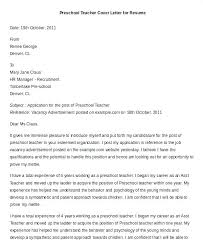 Cover Letters For Preschool Teachers Preschool Teacher Resume
