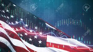 Creative American Flag With Forex Chart On Blurry Background