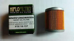 Hiflo Oil Filter Fitment Chart Hiflo Oil Filter Set Long Short Hf155 Hf157 Ktm 250 400