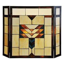 mission style stained glass 3 panel fireplace screen