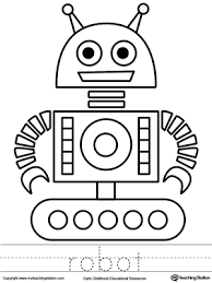 robot coloring page and word tracing