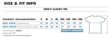 Regular Xl Size Chart Full Product Size Charts Us Teepublic