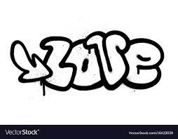graffiti love word in black over white vector image