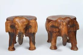 pair of vintage carved wood elephant stools at 1stdibs
