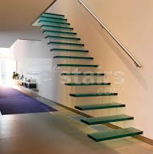 Straight staircase / glass steps / without risers / contemporary TRE-474  EeStairs ...